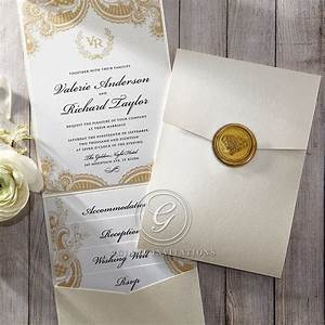 golden seal pocket with top fold invitation from giant With wedding invitation with pocket on back