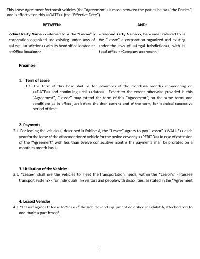 ne lease agreement  transit vehicles template