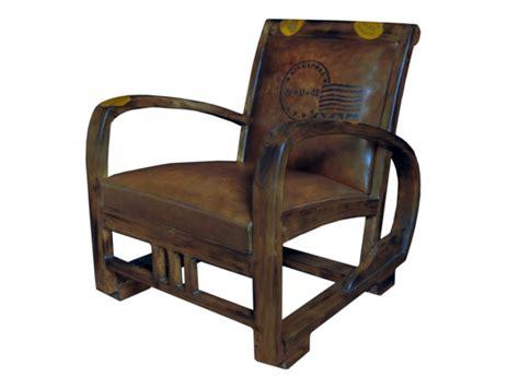 fauteil de bureau fauteuil cuir vieilli marron structure teck travel