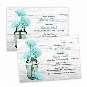country bridal shower invitation aqua daisies in a mason With mason jar bridal shower invitations templates