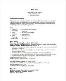 marketing consultant resume marketing resume sles for successful hunters