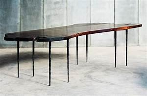 Table En Noyer : grande table bois en noyer contemporaine et pi tement pingle en m tal bross et martel ~ Teatrodelosmanantiales.com Idées de Décoration
