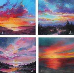 30, Easy, Sunset, Painting, Tutorials