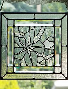 Stained Glass Panel Clear Textured Glass Flower Apple Blossom