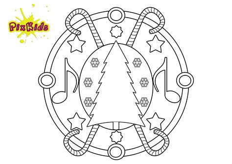 Ausmalbild Weihnachts Mandala