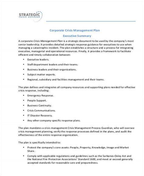 crisis management plan templates   word