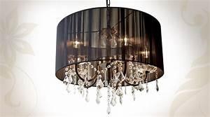 Lustre à Pampilles : lustre chic pampilles et tissu pliss noir 56 cm ~ Teatrodelosmanantiales.com Idées de Décoration