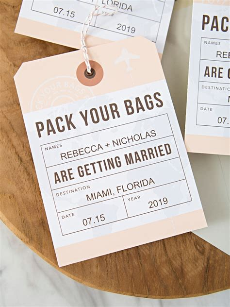 these diy destination wedding save the date luggage tags