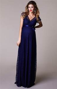 kristin maternity gown long indigo blue maternity With robe longue de grossesse