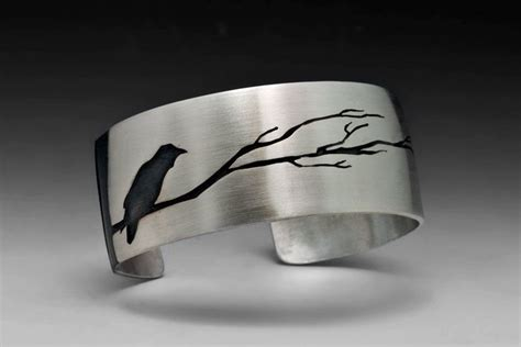 hand crafted raven bracelet  tree sterling silver