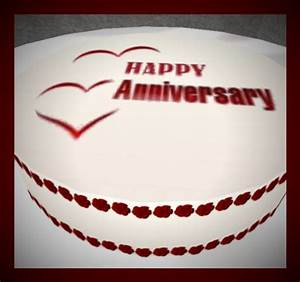 Second Life Marketplace - HAPPY ANNIVERSARY CAKE-RED HEARTS