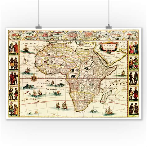 Laminated, framed, magnetic, mounted & more. Africa - (1660) - Panoramic Map (9x12 Art Print, Wall ...