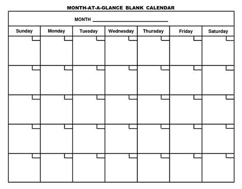 Blank Monthly Calendar Template Blank Monthly Calendar Template 2017