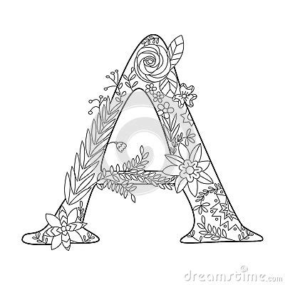 letter  coloring book  adults vector stock vector image