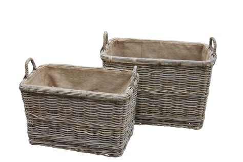 Rectangular Log Basket With Handles