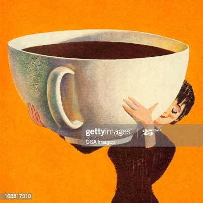 woman holding  huge cup  coffee high res vector graphic