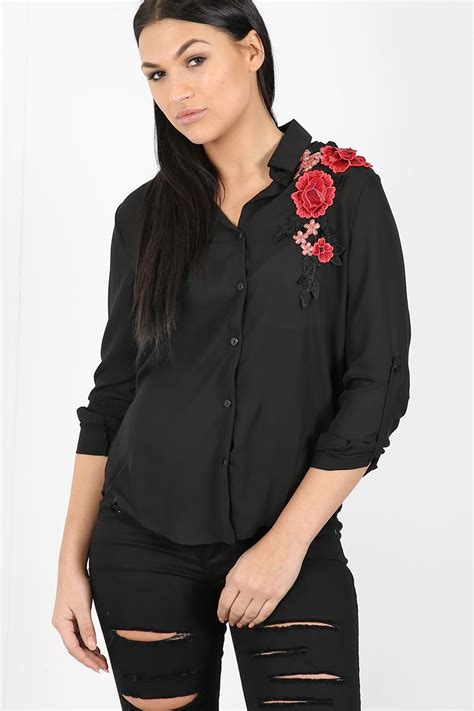 dress blouse womens floral embroidered chiffon collared