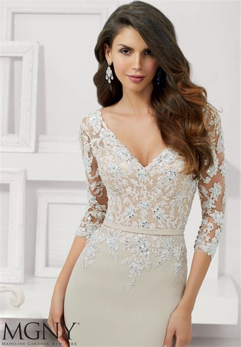 beaded lace appliques evening gown style  morilee