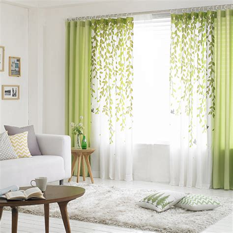 curtains for window on door lime green and white leaf print poly cotton blend country