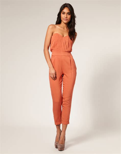 orange jumpsuit womens asos collection asos pleated bust jumpsuit in orange lyst