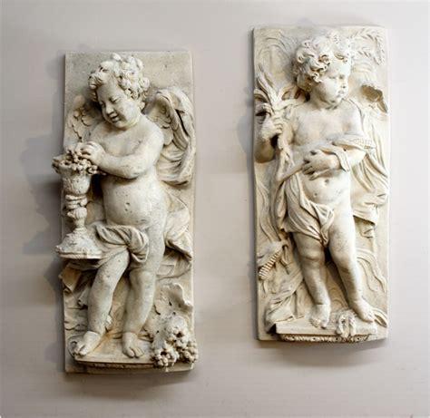 Wall Big Garden Cherub Plaques (pr) Angel Wings Roman Faux