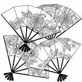 Oriental Coloring Fans Fan Vector Adult Uncoloured Decorated Uncolored Textiles Posters Floral Patterns Illustration Colourbox Supplier sketch template