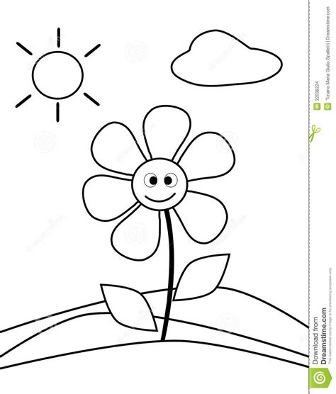coloring flower stock photo illustration  cartoon