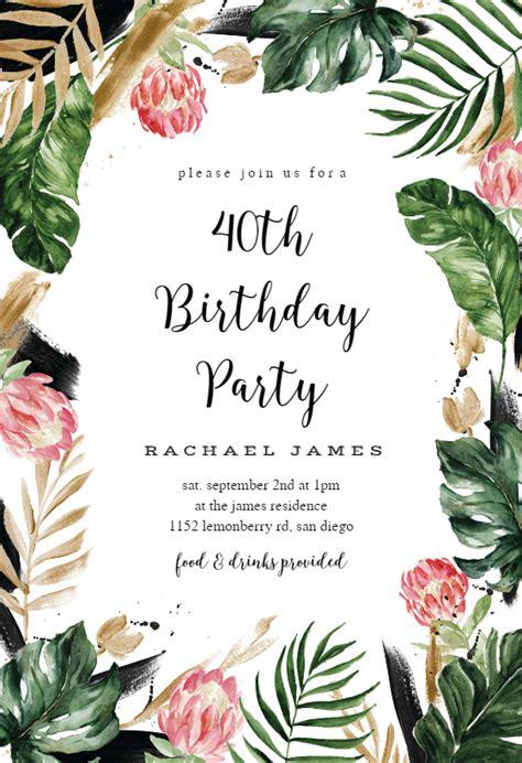 painterly tropical birthday invitation template