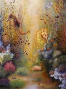 Underwater World, Seahorses Oil Painting | Oil Painting ...