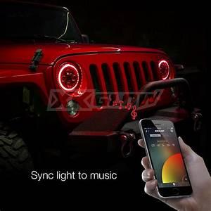 Xkchrome Jeep Headlight   Rgb Halo Ring