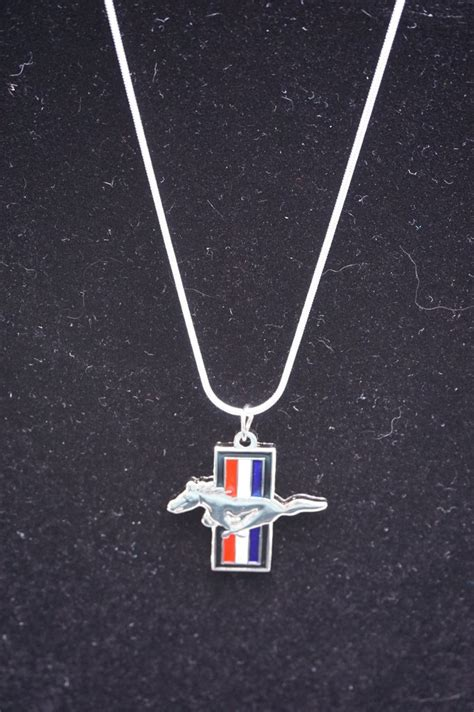 ford mustang necklace ford mustang silver necklace with tri bar charm the