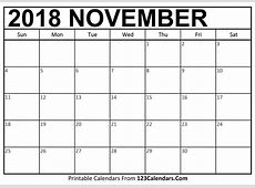 Printable November 2018 Calendar Templates 123CalendarsCom