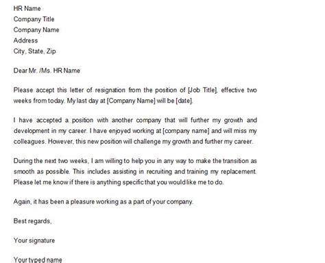 2 Weeks Notice Template 40 Two Weeks Notice Letters Resignation Letter Sles