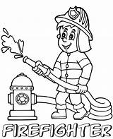 Coloring Firefighter Professions Printable Print Children sketch template