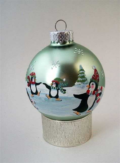hand painted christmas ornament frolic play penguins