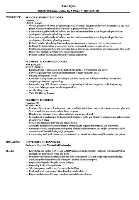 plumbing engineer resume sles velvet