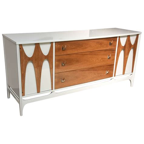 what is mid century furniture broyhill brasilia walnut white lacquered credenza dresser