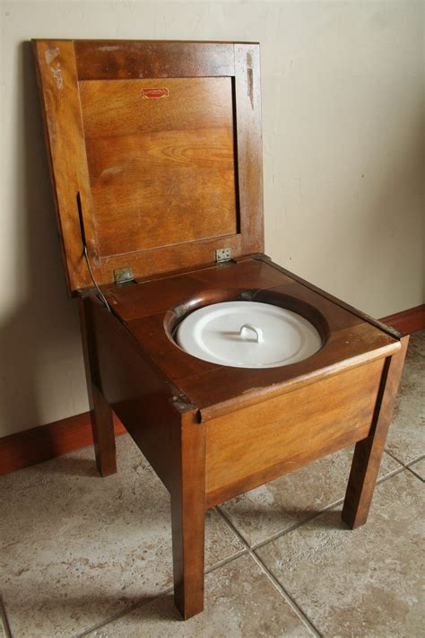 antique commode chair wood with white and blue porcelain