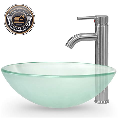 bathroom vessel sink frosted tempered glass with faucet