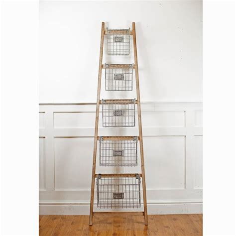 wooden ladder   storage baskets   orchard notonthehighstreetcom