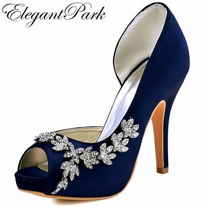 Shoes Heel Navy Satin Pumps Platform Bride