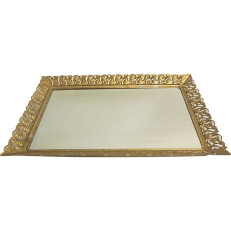 mirror vanity tray rectangular vanity mirror tray with gold gilt sold on ruby