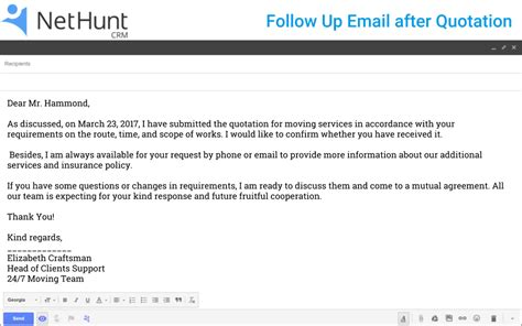 customer follow up email template how to write a follow up email to client after quotation nethunt crm