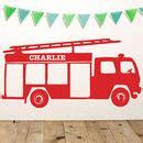 personalised fire engine vinyl wall sticker  oakdene