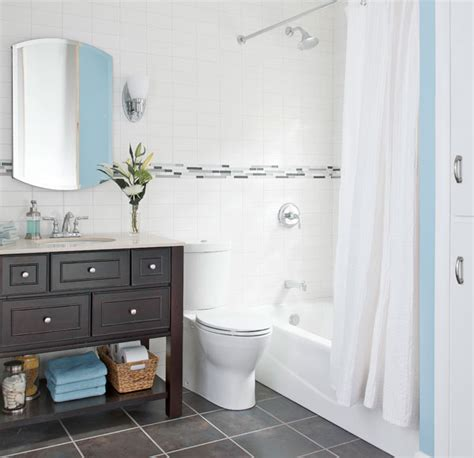 Nice Small Light Blue Color Bathroom Example Of Well
