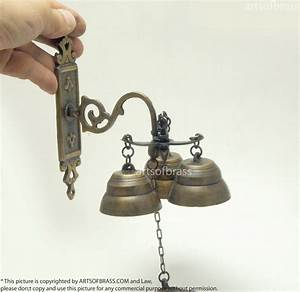 6 50 U0026quot  Tall Vintage Solid Brass Gate Front Door Bell Three Ringing Bell Ring