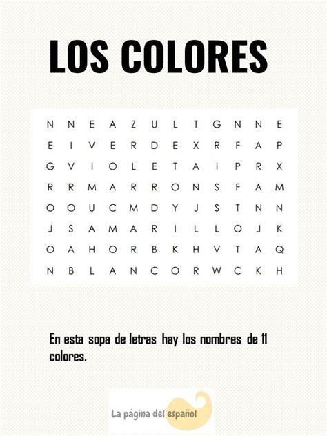 Sopa De Letras Los Colores  La Página Del Español