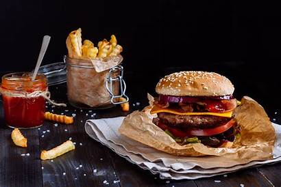Burger Fries French Hamburger Sandwich Still 4k