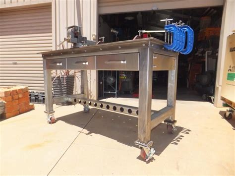 metal work bench ideas  pinterest garage