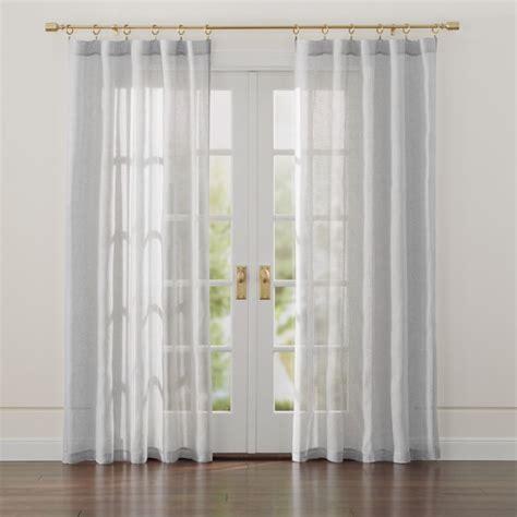 Linen Light Grey Sheer Curtains | Crate and Barrel